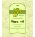 Retro label for olive oil with green olive branch vector image vector image