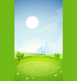 rural summer landscape with city vector image vector image