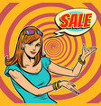 sale pop art woman vector image