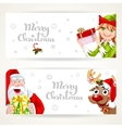 Santa Claus and Elf with gift on two white vector image vector image