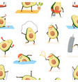 seamless pattern with cute and funny avocado vector image