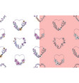 set hand drawn seamless pattern with hearts vector image