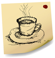 sketch of coffee on sticky paper vector image vector image