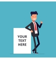 Smiling businessman stands near the net vector image
