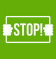 stop icon green vector image vector image