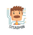 sysadmin computer and technical support cartoon vector image vector image