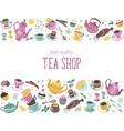 tea horizontal poster vector image vector image
