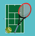 tennis court with racket and ball objects vector image vector image