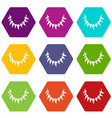 tooth necklace icons set 9 vector image vector image