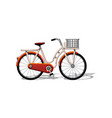 urban family bike with basket and pattern flat vector image