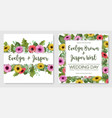 watercolor floral set template of wedding vector image vector image