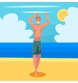 Young red haired athletic man in swimming shorts vector image