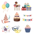 Celebration party carnival festive icons set vector image