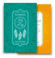 wedding invitation card with beautiful ethnic vector image