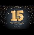 anniversary 15 gold 3d numbers vector image