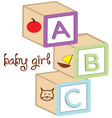 Baby Girl Blocks vector image vector image