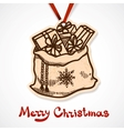Bag full of presents paper label on ribbon vector image vector image