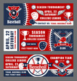 baseball sport league cup tournament equipment vector image vector image