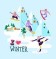 beautiful ski club skiing vector image vector image