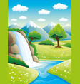 beautiful waterfall and mountains vector image vector image