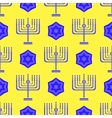 Blue David Star Menorah Seamless Background vector image vector image