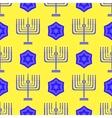 Blue David Star Menorah Seamless Background vector image