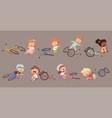 broken bicycle kids fallen from bike unhappy vector image vector image