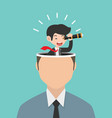 businessman with a telescope on head concept vector image vector image
