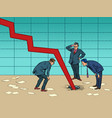 businessmen are puzzled the chart goes down and vector image