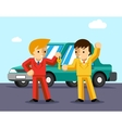 Buying car Man gets keys to the car vector image