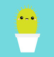 cactus icon in flower pot cute cartoon kawaii vector image