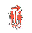 cartoon wc toilet icon in comic style men and vector image vector image