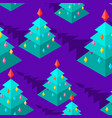 christmas tree isometric style pattern christmas vector image vector image
