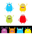 colorful monster silhouette set head face cute vector image