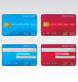 Credit cards blue and red vector image