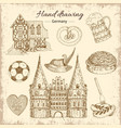 drawn germany icon set vector image vector image