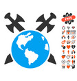 earth swords icon with dating bonus vector image vector image