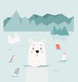 eco concept poster with cute polar bear vector image vector image