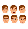 face expressions of man with brown hair vector image vector image