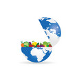 fruit and vegetables with planet earth vector image vector image