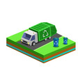 garbage removal with isometric bins and city truck vector image vector image