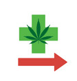 green cross points the way to legal marijuana vector image