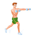 Guy is engaged in wirkout with dumbbells vector image vector image