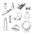 hand drawn collection of make up and cosmetics vector image vector image