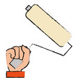 hand with paint roller isolated icon vector image vector image
