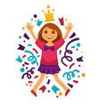 happy birthday girl princess confetti party vector image vector image