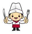 head cook character is holding a fork and knife vector image vector image