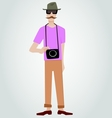 Hipster with camera vector image vector image