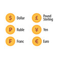 icon set of currency token gold color in flat vector image