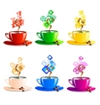 icons set cup coffee color vector image